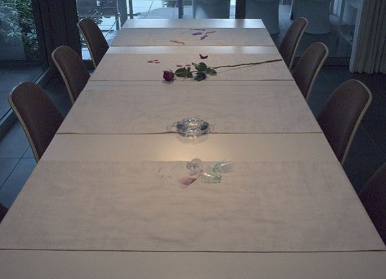 Tabletalk, 2003, 4 table runners, cotton, digital print, Kunst Op Kamers, De Rijp, The Netherlands