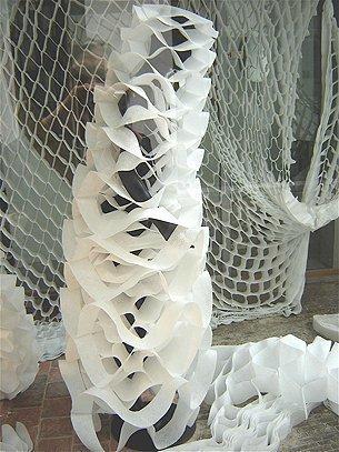 Installation 2D-3D: costumes, curtain, nonwovens, Vitrine 2008, Antwerp, Belgium
