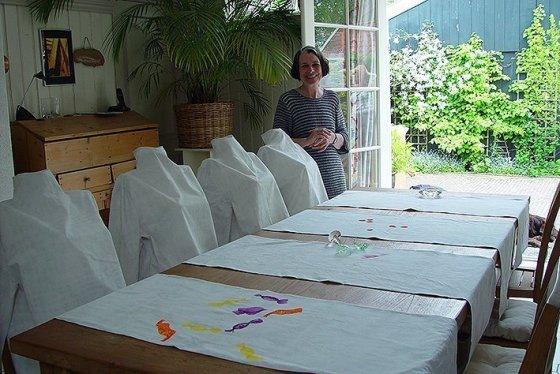 tabletalk, 2003, 4 tafellopers, katoen digitaal geprint , Kunst op kamers, De Rijp, Nederland
